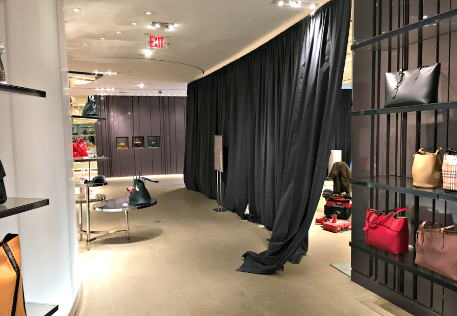 (Under wraps: a new Loro Piana accessories boutique will be opening soon on the ground floor of Holt's at 50 Bloor Street West. Loro Piana also recently opened a concession at Holt's Yorkdale and, soon, in Vancouver. Photo: Craig Patterson)