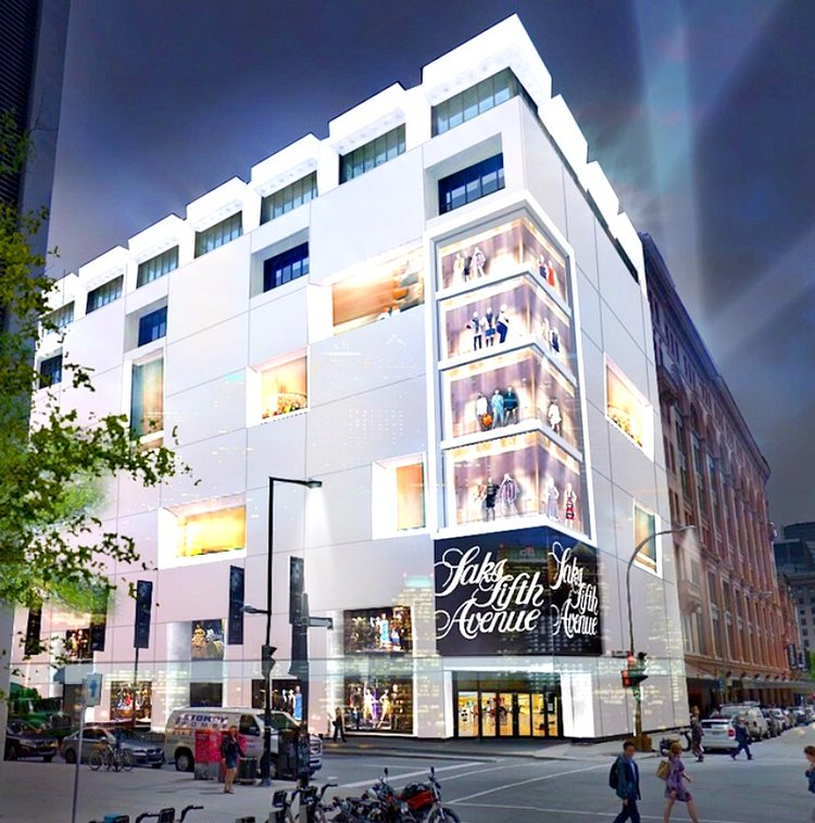 (Last Year, Saks Fifth Avenue announced that it would open a 200,000 square foot store in Montreal, at the back end of the Hudson's Bay store on Sainte-Catherine Street West. It's now unclear what the timeline will be, as it had been announced that the store would open in early 2018. Rendering: Hudson's Bay Company)