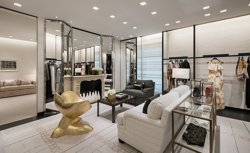 (second floor ready-to-wear salon -- this room can be closed off to become a private shopping suite, or to host a private event)