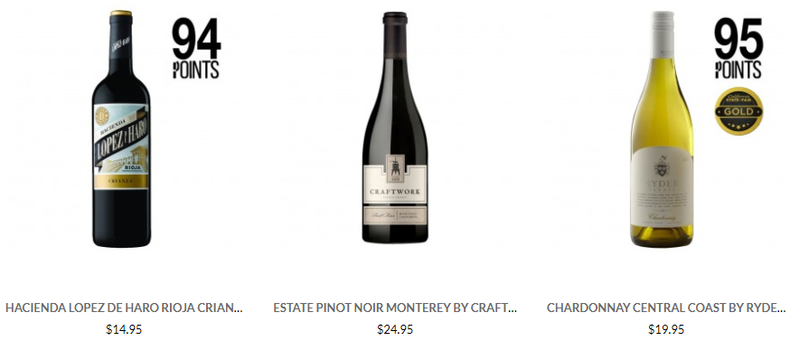 (Photo: Examples of BestSellers on WineOnline.ca)