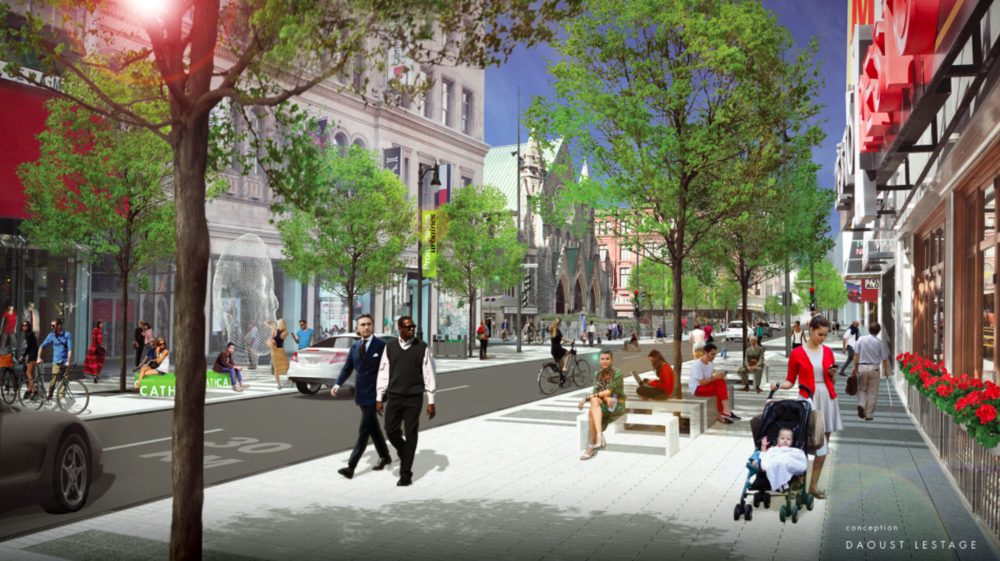 (Montreal's ste-catherine St. W. is going to be seeing some big changes over the next few years, including new streetscape and heated sidewalks)