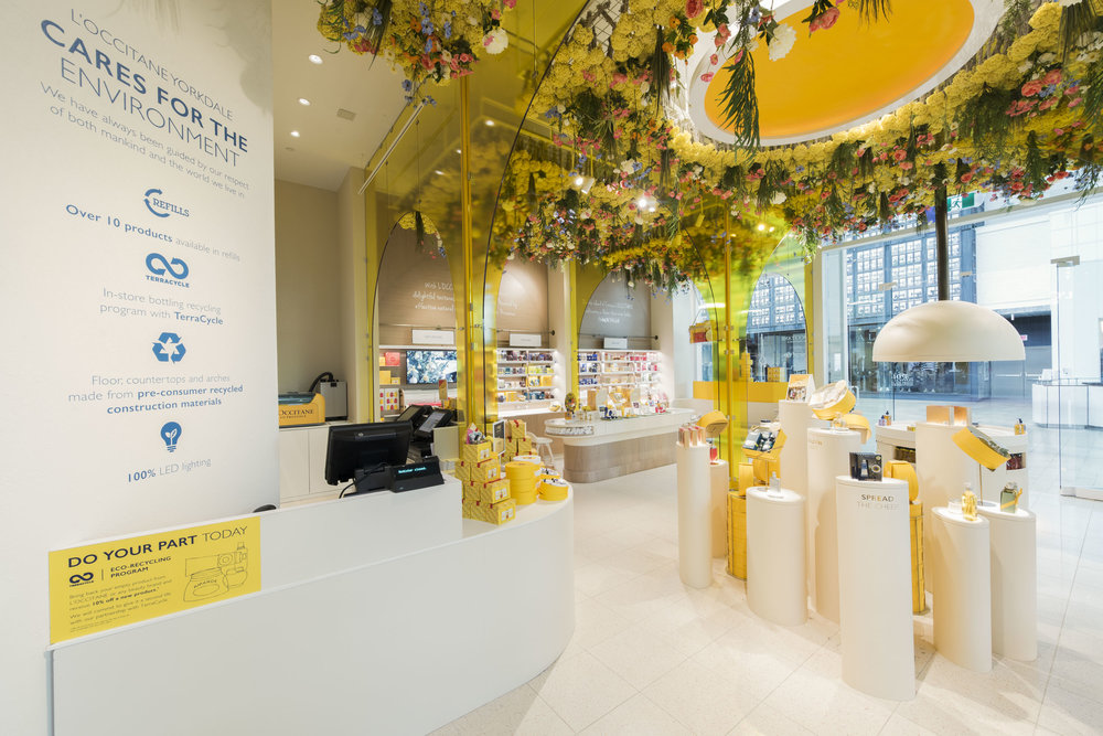 (L'Occitane partnered with Stericycle -- customers can bring in empty bottles to receive a discount on new purchases)