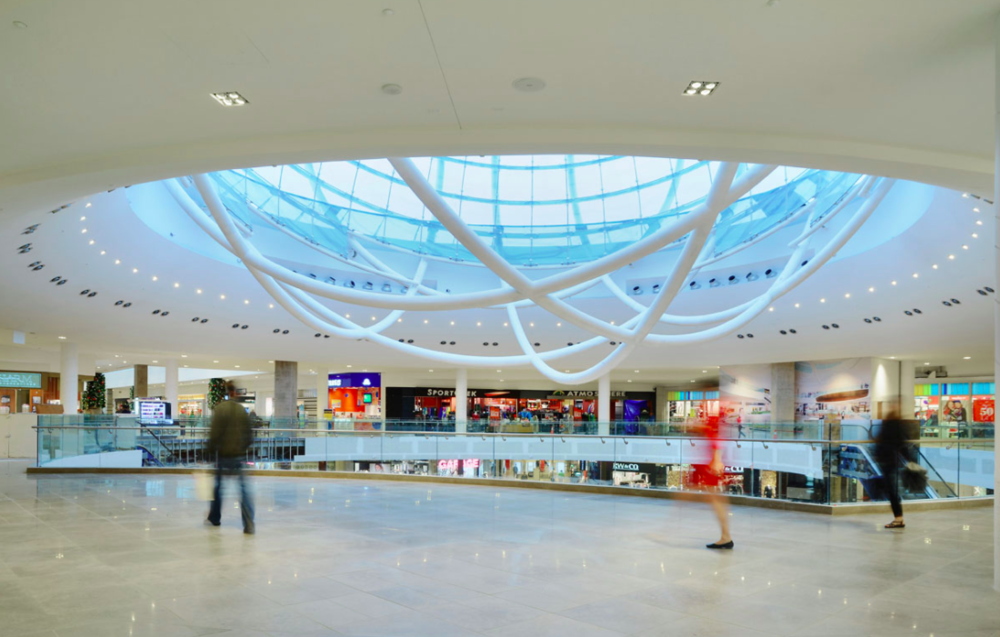 (glass sphere at Erin Mills Town Centre. Photo: Cushman & Wakefield)