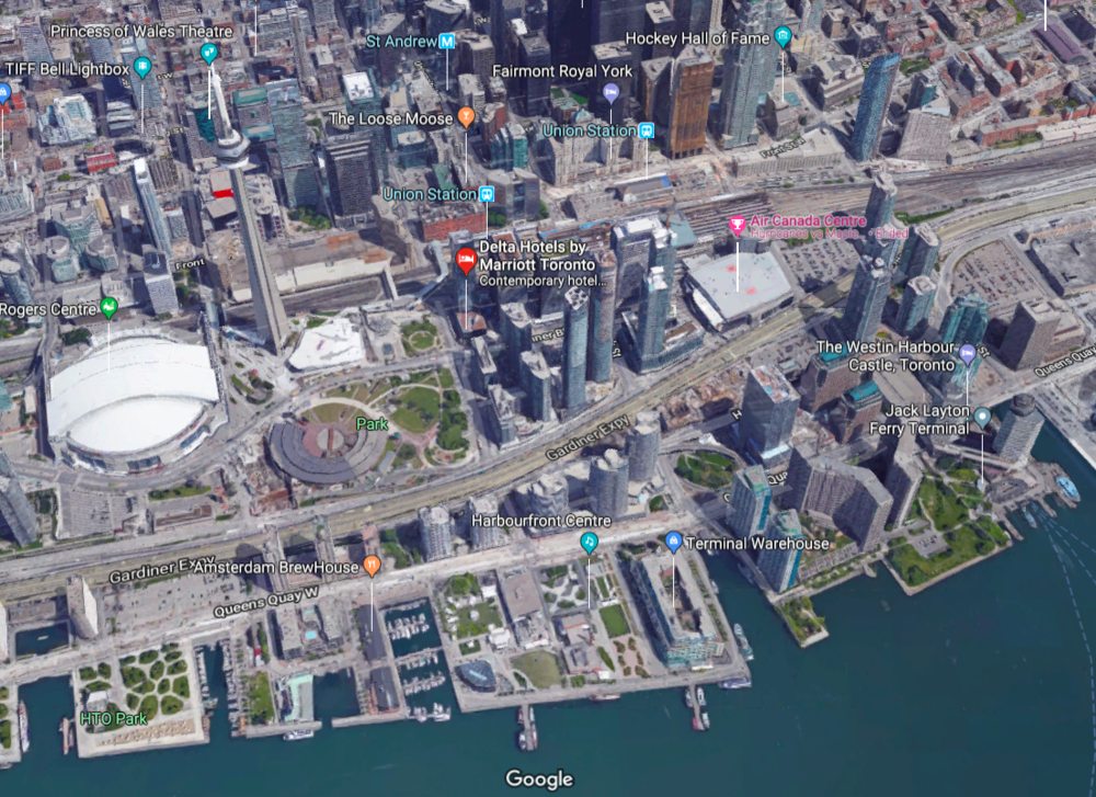 (The Gardiner Expressway continues to be a barrier -- both psychological and physicaly, between the downtown core and the Toronto Waterfront. Click image for interactive Google Map)