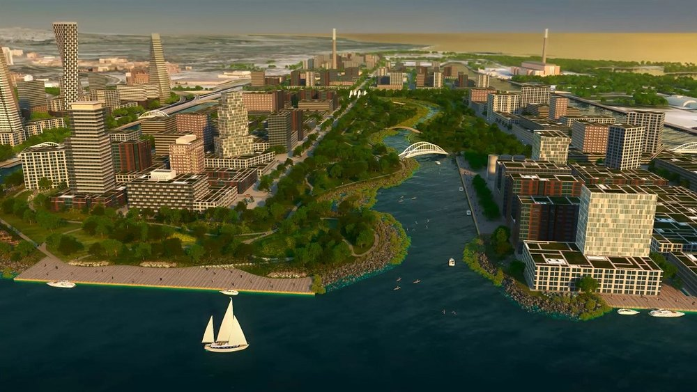 (A futuristic view of Toronto's Port lands)