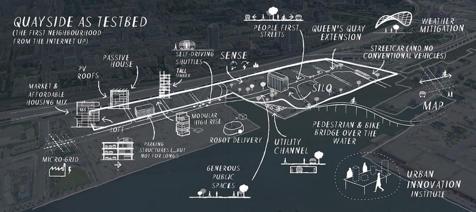 (A notional map of the Quayside neighbourhood, image courtesy of Sidewalk Toronto)