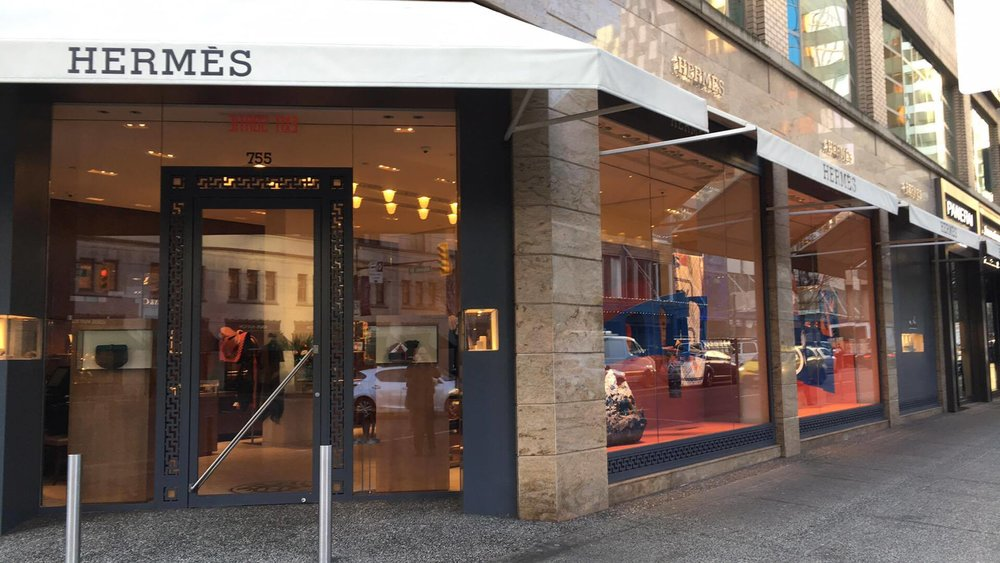 (Hermes currently operates a 2,500 square foot store at 755 Burrard Street, at the corner of Alberni Street. Photo: Lee Rivett)