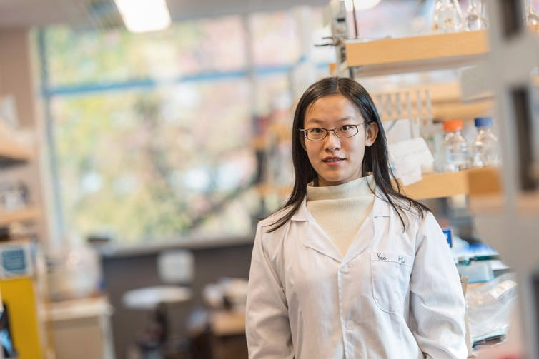 Yaxi Hu, a researcher at the University of British Columbia, developed a test to identify foreign animal parts in ground beef in 2016. Blockchain technology could help to improve the process of tracing food to its origin in real-time, greatly reducing the need to test the product.  (THE CANADIAN PRESS/HANDOUT - Paul Joseph/UBC)