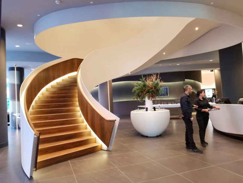 (Sweeping stairway anchors the store. Photo: Samsung)