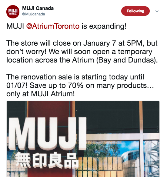 (Screenshot from MUJI's Twitter page)