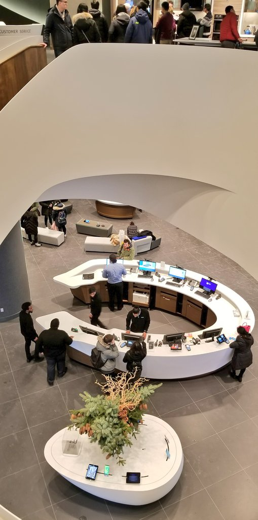 (Looking downstairs towards the customer service desk from the second level stairwell. Photo: Samsung)