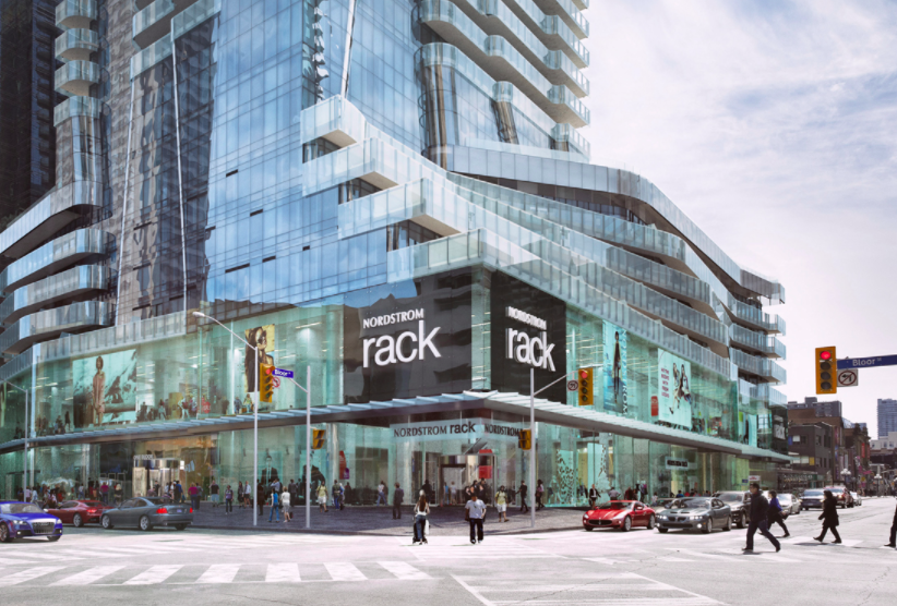 (Nordstrom Rack's third Canadian store will open this spring at 1 bloor st. e. in Toronto. Photo: First Gulf/First Capital Realty)