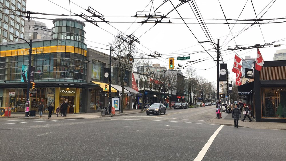(Robson Street in Vancouver on January 2, 2018. Photo: Lee Rivett for Retail Insider)
