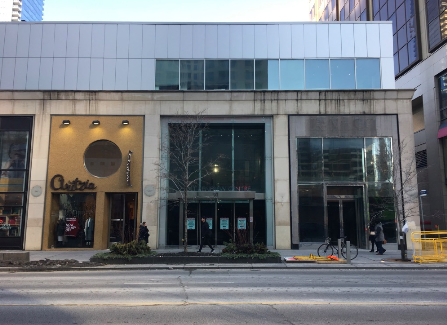 (The current Aritzia store at 50 Bloor St. W. will see its facade triple in length, taking over the former entrance to the Holt Renfrew Centre/HMV, as well as a retail space formerly occupied by BCBG. Photo: Craig Patterson)