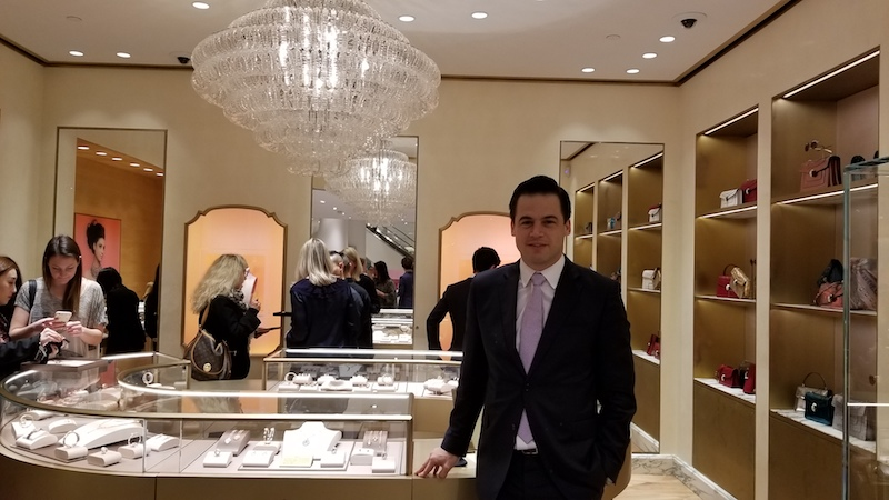 [Daniel Paltridge, President of Bulgari North America, poses for the camera  at the opening. Photo: Helen Siwak]