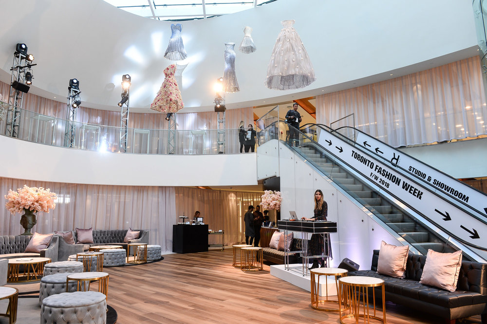 ('The Oval' at Yorkville village was TRANSFORMED into a VIP lounge, with unique art above. Photo: George Pimentel)