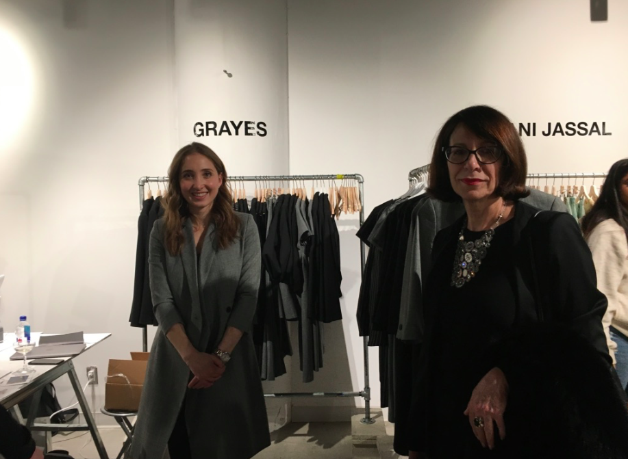 (at the Re/set pop-up space. Left: Stephanie Ray, founder of women's online career fashion brand grayes (recently featured in Retail Insider) and fashion Icon Eva Friede who came in from Montreal to attend TFW for all three days. Photo: Craig Patterson)