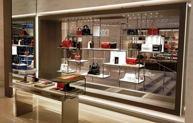 (Inside the new Dior boutique -- the stairs on the other side of the window lead downstairs to the store's Granville Street entrance. Photo: Helen Siwak)