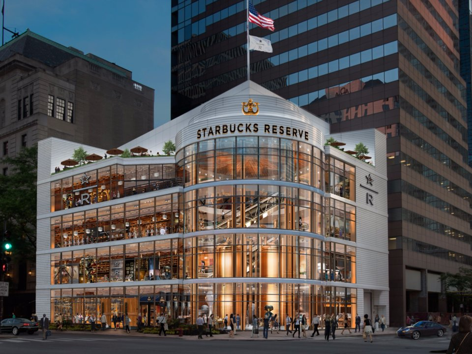 (An acre of coffee -- a 43,000 square foot Starbucks reserve will open next year at 646 N. Michigan Avenue in Chicago, replacing a crate and barrel store. Rendering: Starbucks)