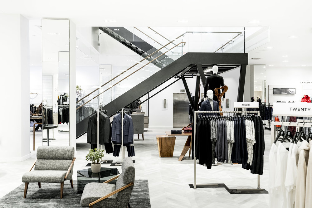 (The men's store on 1 and a stairway upstairs.   Photo: Saks Fifth Avenue)
