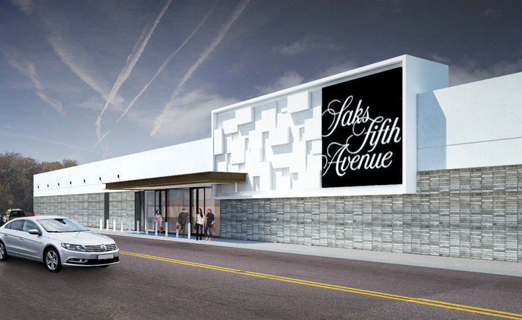 (Rendering of the Exterior of the new Calgary saks Fifth Avenue store. Image: via  Craig Nealy / Stantec )