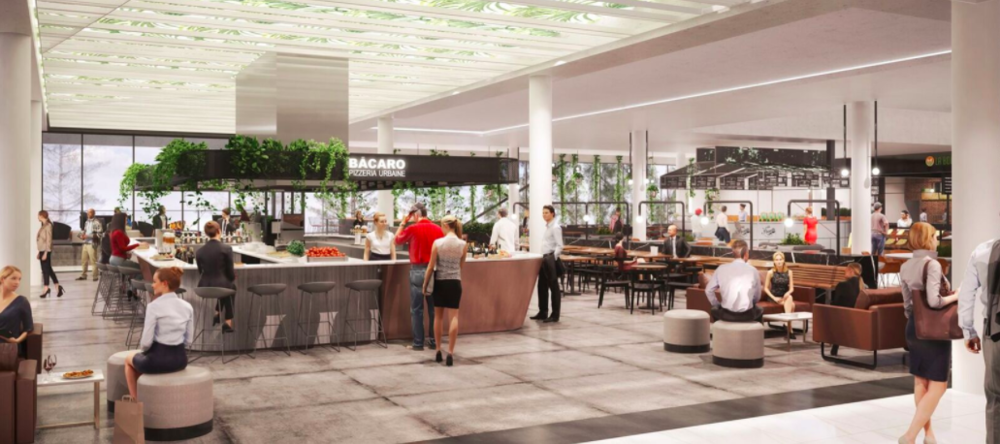 (You can get a glass of wine -- or pizza, at the new Italian concept to be located at the centre of the new food centre)