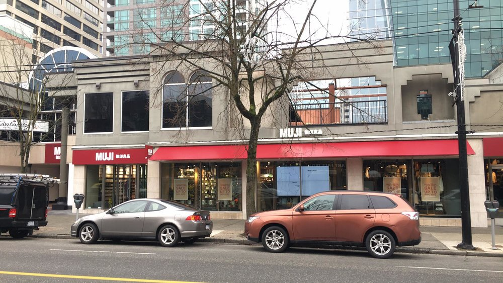 (MUJI Opened a 14,500 square foot store on Robson Street's 1100 block late last year to lineups. Photo: Lee Rivett)