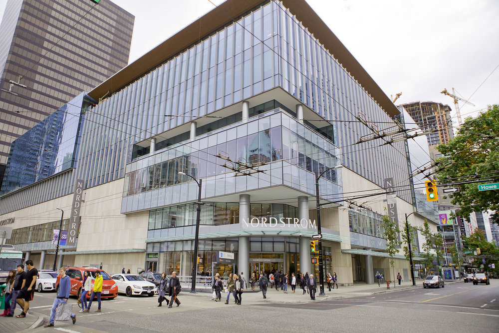 (Nordstrom opened its wildly popular CF Pacific Centre flagship in September of 2015 -- the store competes with the Seattle flagship for top spot, in terms of revenue, and houses considerably more luxury brands than most norstrom stores. Photo:  Tourism Vancouver )
