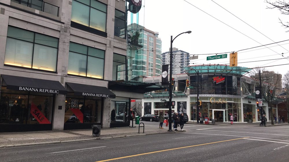 (Looking towards the Aritzia flagship store at 1100 Robson Street)