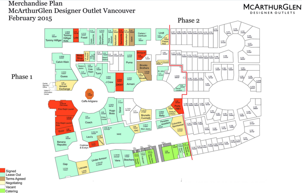 (A three-year old lease plan shows roughly where phase 2 will be located -- not all tenants shown on the phase 1 plan ended up moving into the centre)