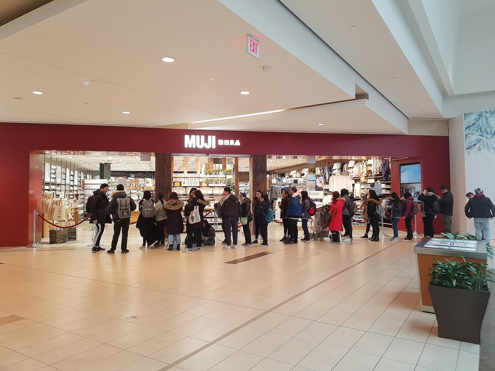 (Lineup at the opening of muji at Scarborough Town Centre. Photo: MUJI via Twitter)