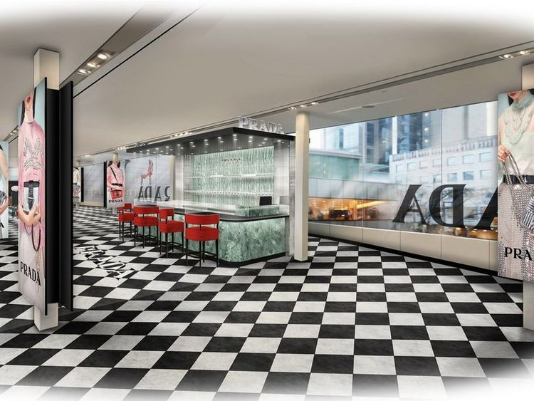 "(THE PEDESTRIAN PASSAGE OVER DUNSMUIR STREET AT HOLT RENFREW IN VANCOUVER was TRANSFORMED INTO A ""PRADA SPIRIT POP-UP SHOP"" FROM FEB. 8-19 OF THIS YEAR. RENDERING COURTESY OF PRADA)"