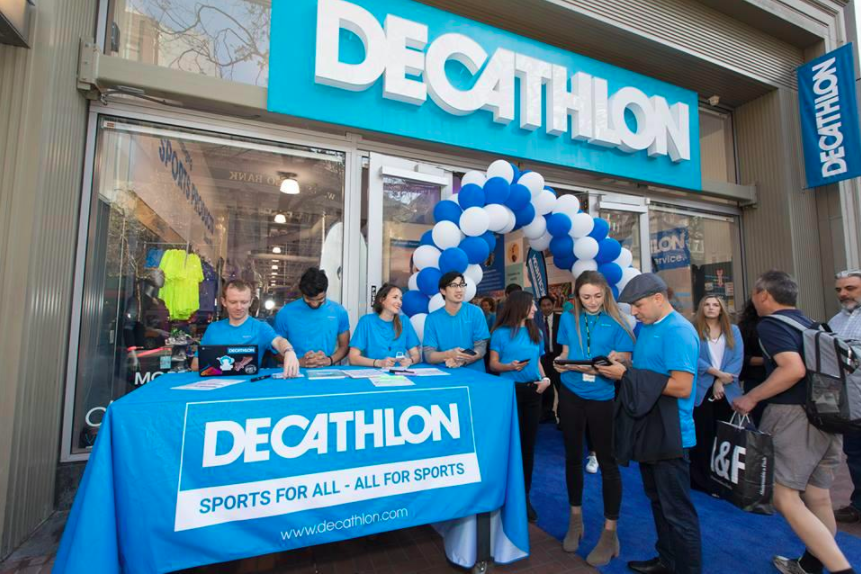 Above and Below: San Francisco Store opening on March 29. Photos: Decathlon via Twitter
