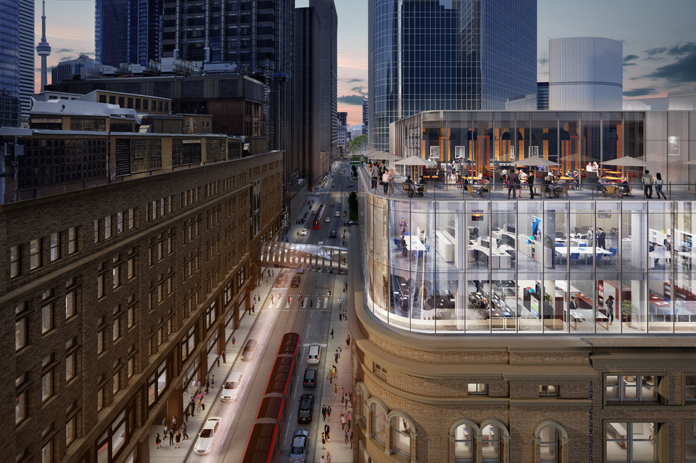 Rendering looking past 2 Queen Street West towards the Hudson's Bay Building (and its pedway), towards the CN Tower.