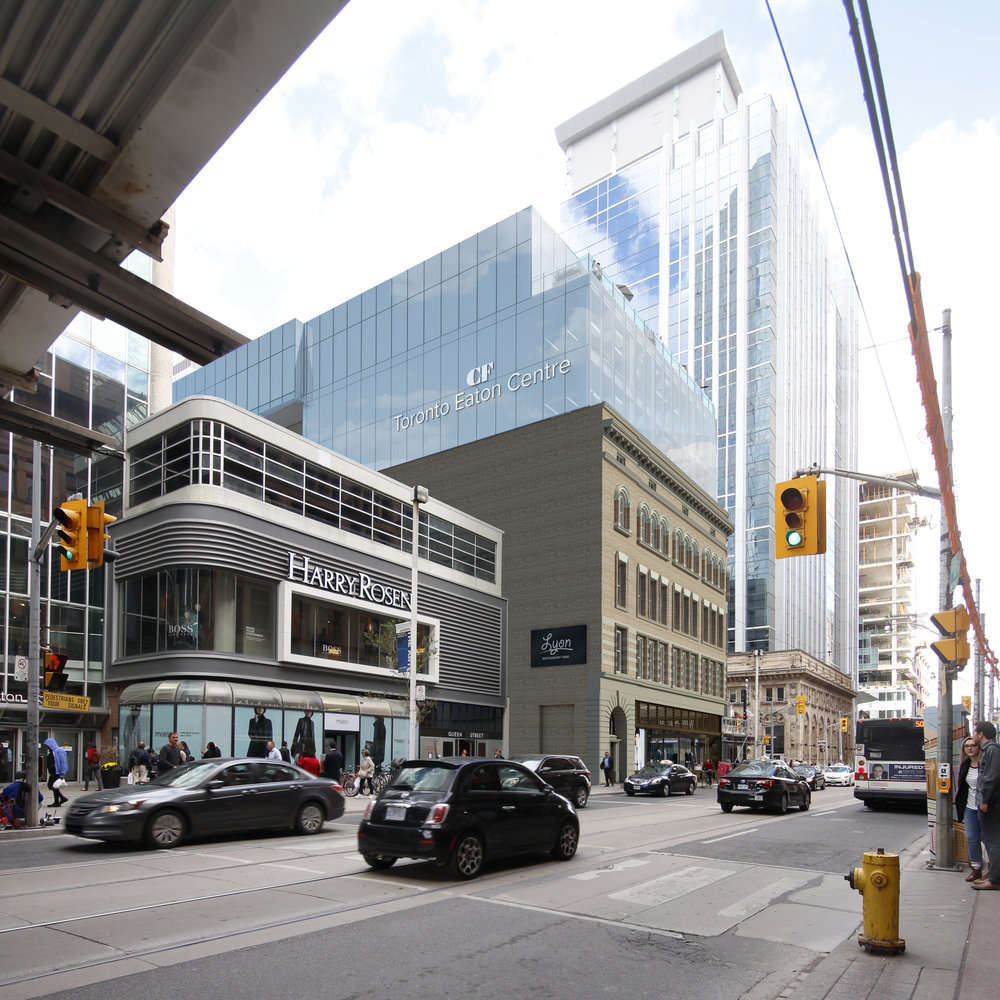 Looking eastward along Queen Street West from the entrance of Hudson's Bay/Saks Fifth Avenue towards 2 Queen Street West.
