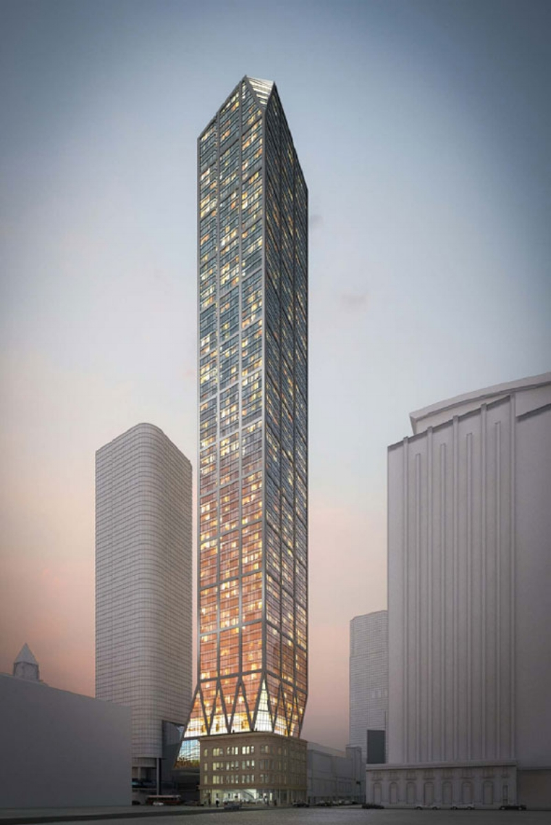 An earlier proposal for a 65-storey rental tower on the site.