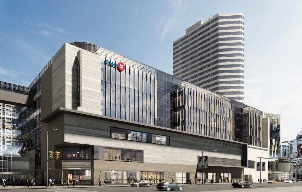 BMO will open offices above CF Toronto Eaton Centre's Nordstrom store, in a space that once housed Sears Canada's flagship. Rendering: Cadillac Fairview.