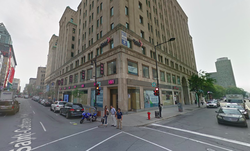 Canada Goose will be a game changer when it will reportedly open an 8,000 square foot store this fall at the Corner of Ste-Catherine Street West and Peel Street, in Montreal. Photo: Google Street View