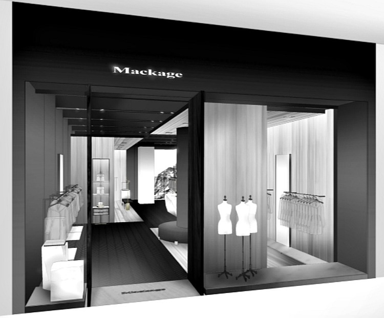 Rendering of the Mackage store at Toronto's Yorkdale Shopping Centre. Rendering: Burdifilek