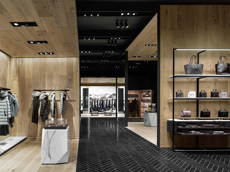 Inside the Award-winning Mackage at Yorkdale. Photo VIA BURDIFILEK AND BEN RAHN, A-FRAME STUDIO