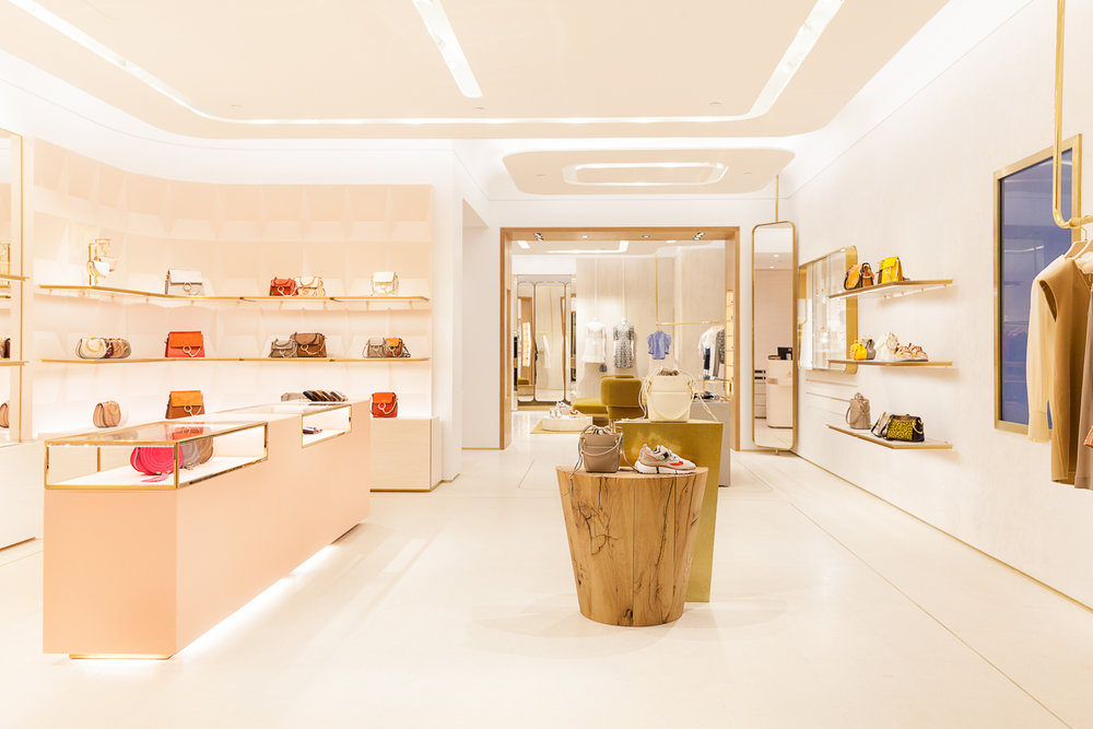 Looking from the front of the store back towards the ready-to-wear salon.