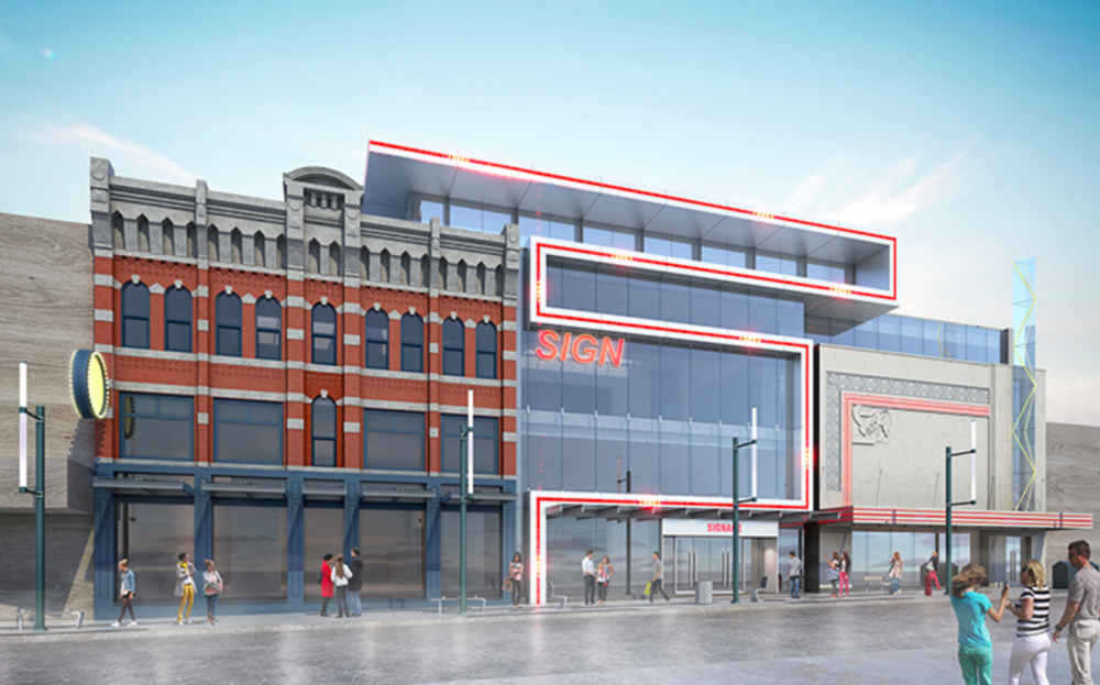 The former 'empire theatre' is being repurposed for retail and other commercial uses. Rendering via CBRE