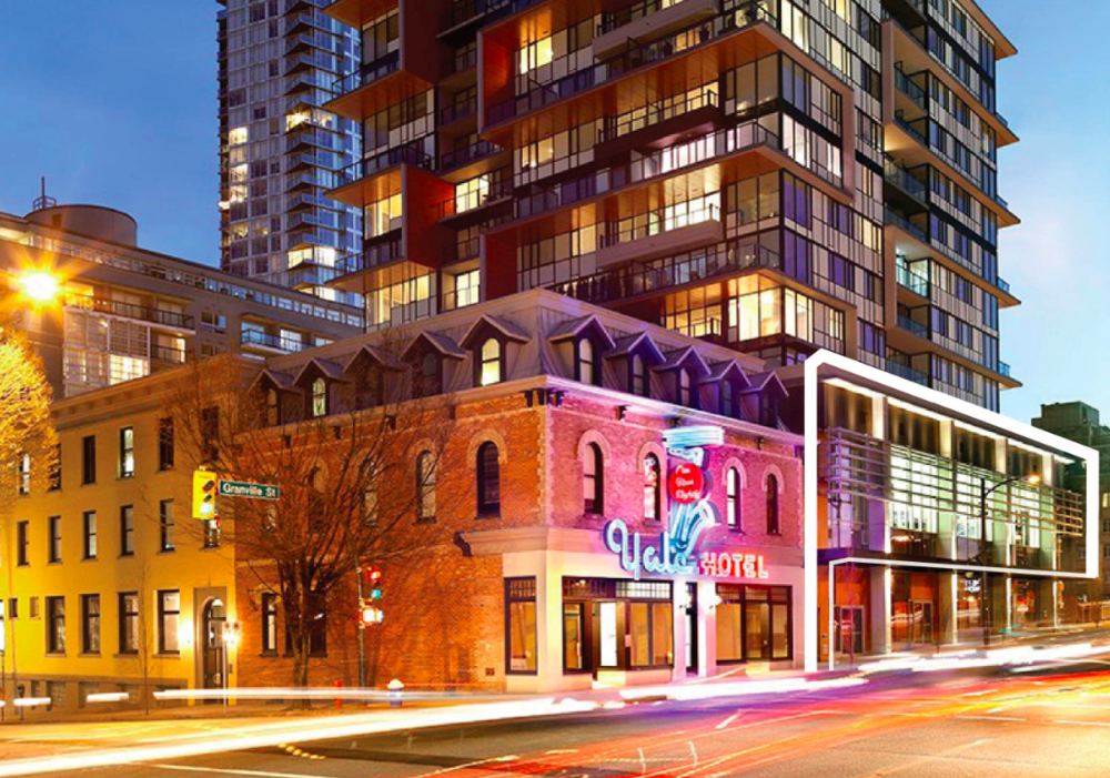 1330 Granville Street, Former Yale Hotel which is now part of a condominium development. photo: CBRE