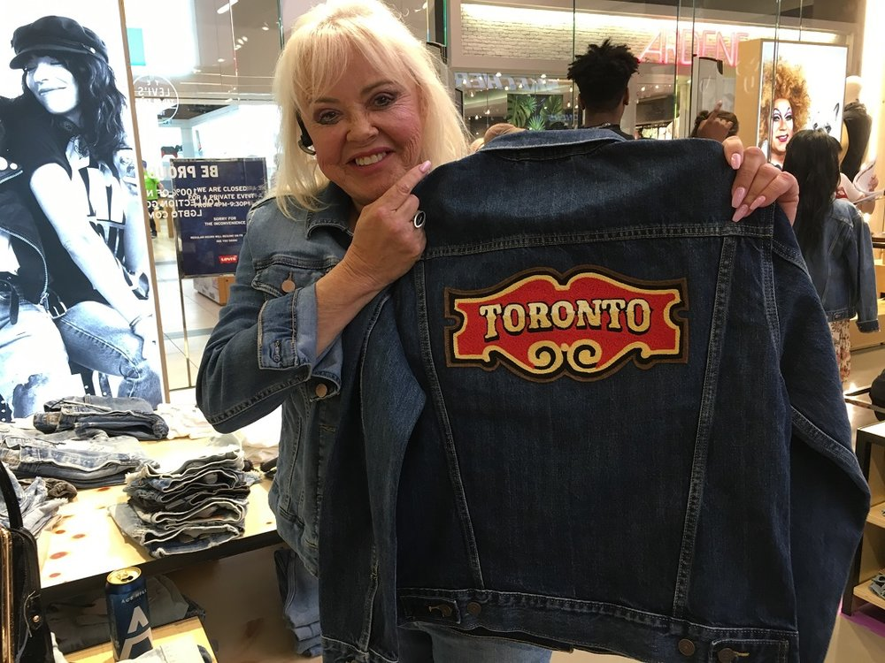 Suzanne Sears, Founder of leading retail recruitment firm  Best Retail Careers International INc. , holds up a Toronto-themed Trucker Jacket. Photo: Craig Patterson