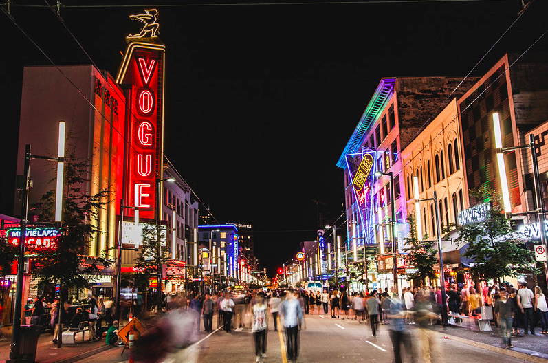 A busy evening on the Granville Street Strip. Photo: Filament Photography