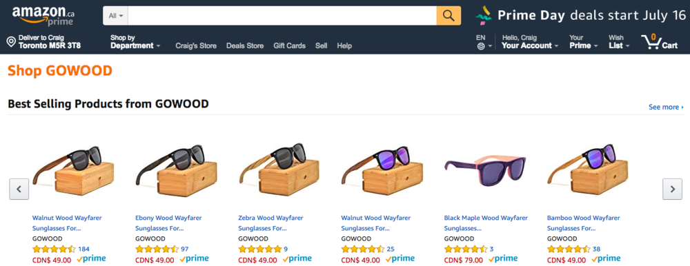 Screen shot from a vendor prior to Prime Day -- come Monday, prices will be reduced.
