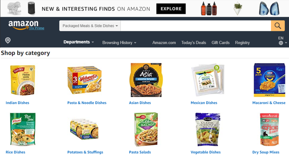 Example of 'Ready-to-Eat' meals from  Amazon.com
