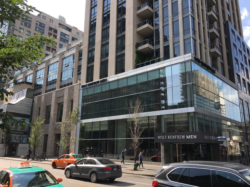 Holt Renfrew men at 110 Bloor Street West -- the space is offered for lease as Holt Renfrew consolidates its Bloor Street operations. Photo: Craig Patterson