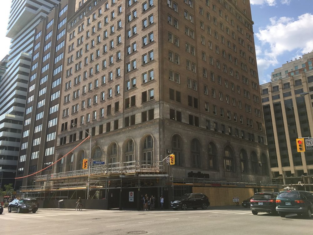 Under Construction: The Park Hyatt at the north east corner of Bloor St. W. and Avenue Road. Oxford Properties is turning this portion of the complex into a luxury residential rental building with expanded retail at its base. Photo: Craig Patterson