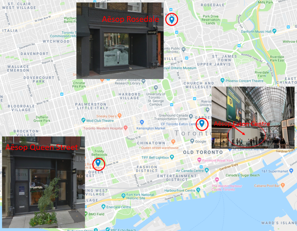 3 Toronto Stores. Click image for interactive Google Map